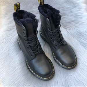 LIKE NEW Dr. Martens Serena black fur leather boot